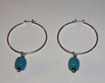Turquoise Hoop Charm Set