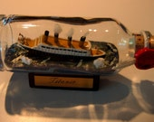 Ship in a Bottle UNIQUE Offering of TITANIC SINKING From Hamburg, Germany. Icebergs Ahead