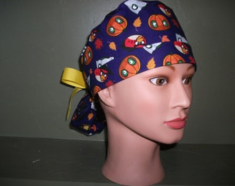 Halloween Ponytail scrub cap with angry birds