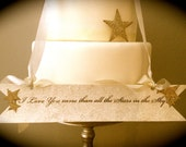 Wedding Sign - Stars -Customized - Vintage Style Banner - Luminescent and Silver Glitter