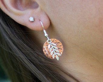 Copper Disk earrings, Copper and Sterling Silver earrings, Women, Gift, bridesmaid gift, handmade, hand hammered, eco friendly