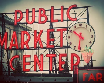 Pike Place Market photo, wrapped canvas or print, Seattle wall art, neon sign, urban photography, gifts for men, seattle gift