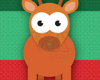 Pin the Nose on Rudolph the Red Nose Reindeer - Holidays - Christmas - Theme Party Game - December - Santa - Rudolph