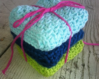 Crocheted Dish Cloths -  3 medium and double thick,  100% cotton, Tiffany blue, ocean blue and lime green