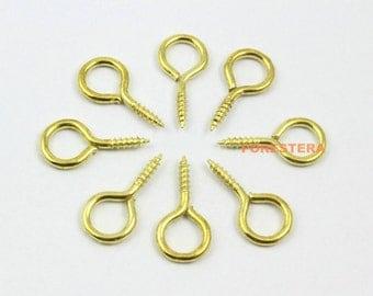 100Pcs 10x20mm Eye Screw Gold Screw Eye Pins (JS-YY6)