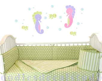 Seahorse Wall Decal - Pink & Lilac decal - Sealife Wall Decals for Girls Nursery - Ocean Critters Wall Art for Kids room - Bathroom Decals
