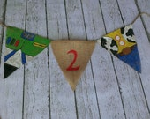 Buzz Lightyear and Woody Custom Burlap Banner
