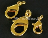 25 GOLD 18mm Lobster Clasps - Large 18X9mm Lead and Nickel Free Brass LOBSTER Claw Clasp w/ Ring - USA Wholesale - Instant Ship - 5530