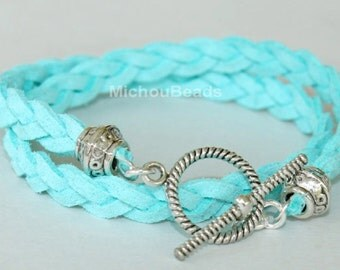 LOT of 3 - Pick COLOR / SIZE - Add your Dangle - Tibetan Style Double wrap Braided Microfiber Faux Suede bracelet - Silver Toggle Clasp