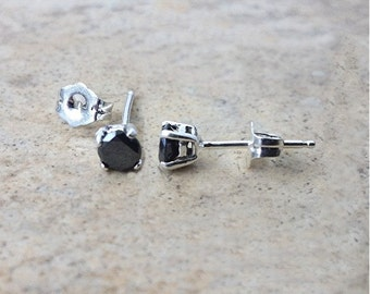 4mm genuine Black Diamond stud earrings in Sterling Silver or Gold