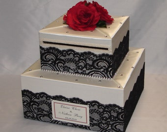 Elegant Custom made Wedding Card Box-Lace design two tiers- any colors