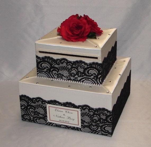 Elegant Wedding Gift Card Box : Elegant Custom made Wedding Card Box-Lace design two tiers- any colors