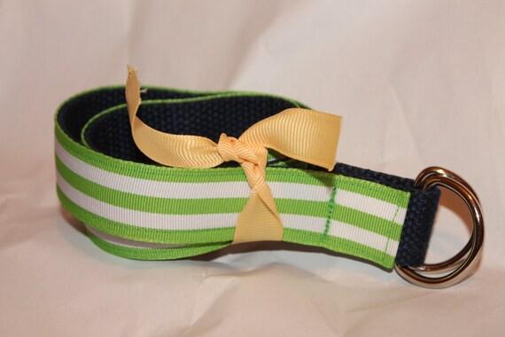 Toddler Ribbon Belt Green Navy Belt Kids Lime Green Belt Navy and Green D Ring Belt Children's Accessory Preppy Kids Belt D ring for Kids