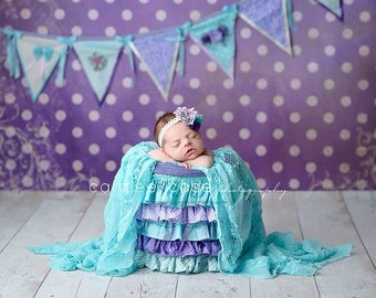 Lavender, Purple, Aqua and Ivory Pennant Banner Bunting for Photo Prop, Cake Smash, Birthday Parties, Weddings