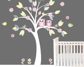 Nursery Tree stickers, Owl wall decals, Nursery decals, Owls, Flowers wall stickers