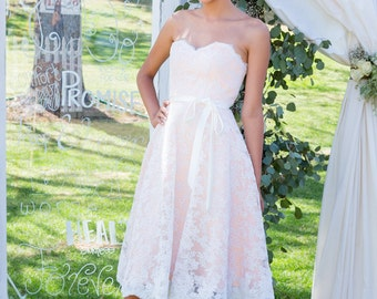 SALE - Ready to ship-Lace Wedding Dress-  Short Wedding Dress, Repception Dress, Garden Wedding, Peach, Pink Wedding Dress, Blush and Ivory