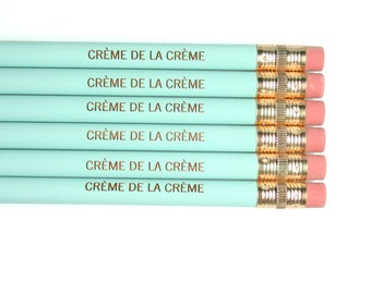 crème de la crème 6 engraved pencils in light baby blue.