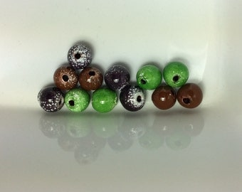 Torch Fired Enamel Beads, Peridot green, Amethyst Purple, Brown or Mix 6 to 7mm, 12 beads