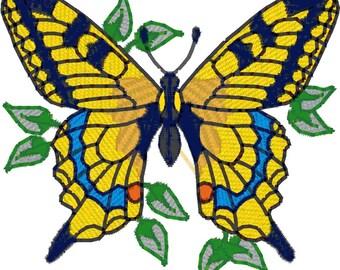 Butterflies in Leaves for 4x4 Hoop Machine Embroidery Designs zip file PES,JEF, VP3 format.