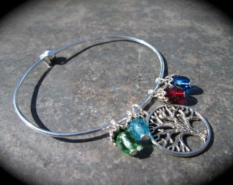 Personalized Tree of Life Wire Bangle Bracelet with Birthstone Charms