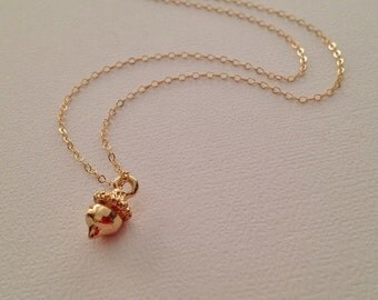 Gold Acorn Necklace -Acorn Necklace in Gold -Gold Acorn Jewelry -God Fall Necklace