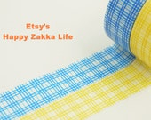 Blue Check Yellow Check - Japanese Washi Masking Tape - 11 Yards (each roll) - 1 Roll