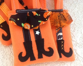 TRICK OR TREAT Halloween Felt Party favor Witch Boots Set of 6