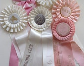 Vintage Equestrian Show Prize Rosette Ribbons - Lot of 6  Pink & White Satin Ribbons - Altered Art - (#5)