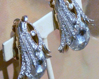 big rhinestone clip earrings