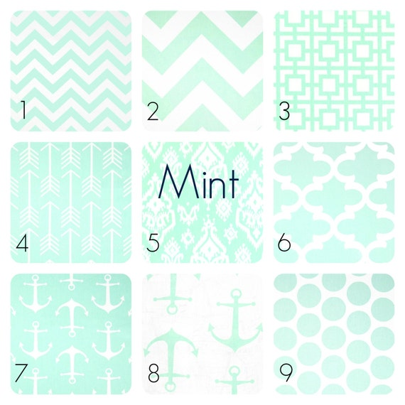 Mint green valance 50w x 16l inches chevron moroccan dots - Mint green kitchen curtains ...