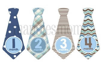 Monthly Baby Boy Tie Stickers, Baby Month Stickers, Monthly Bodysuit Sticker, Monthly Stickers, Milesone Stickers Blue Gray Plaid (Tony)