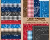 Digital Scrapbook Paper Pack - Bandana, Paisley & Gingham COWBOY PATTERNS - Instant Download