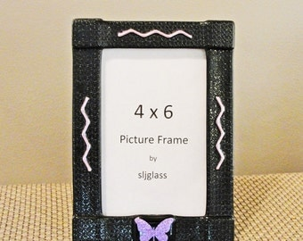 Fused Glass Picture Frame Photo Frame Dichroic Glass Purple Butterfly Black Frame Home Decor Birthday Gifts Under 30 Gifts for Her