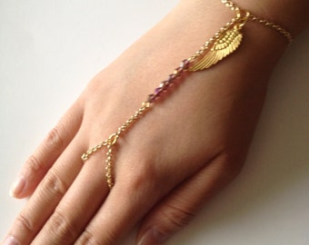 COACHELLA SALE Crystal Hand Chain Bracelet with Gold Charm