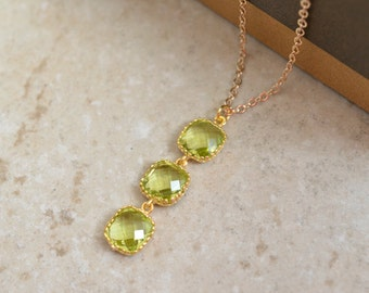 30% OFF, Peridot necklace, Gold necklace, Goldfilled necklace, Wedding necklace,Bridal jewelry,Bridesmaid gift,Green jewelry,Dainty necklace