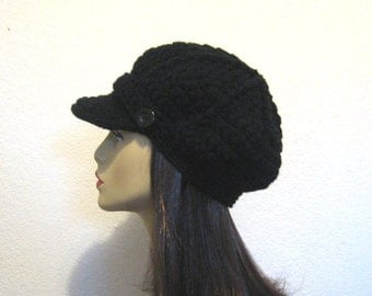 Black Newsboy Hat Crochet Newsboy  Black Hat with Visor  Black Newsboy Hat Crochet Visor Cap Black Cap with Visor and Button  News Boy Hat