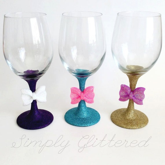 sale glitter stemmed wine glass with bow by simplyglittered