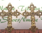 3 pcs per pack 70x51mm Filigree Cross Pendant Antique Gold Finish Lead Free Pewter