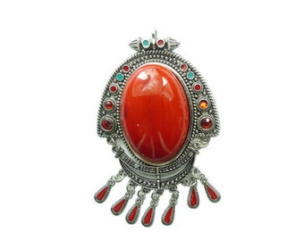 1 pc per pack 100x66 Large Red Glass Pendant in Lead Free Pewter