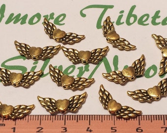 24 pcs per pack 21x6mm Angel Heart Wing Beads Antique Gold Finish Lead Free Pewter