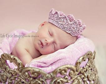 PDF Crochet Pattern - newborn photography prop sparkly crown tiara headband #62