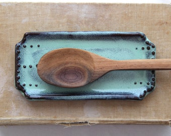 Rustic Spoon Rest in Aqua Mist - Soap Dish - Jewelry Tray - French Country Dinnerware - MADE TO ORDER