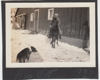 Vintage/Antique beautiful photo of a boy  riding a pony