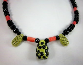 Necklace, Funky Green, Orange, Black, Polymer Clay, Polka Dots, Bright Colors
