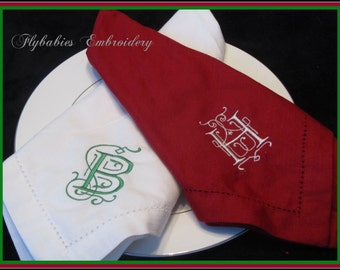 Personalized Cloth Napkins-  Set of 4 - Monogrammed Cloth Napkin Set