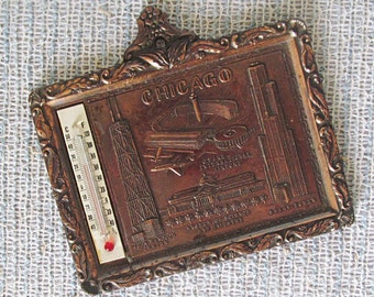 Chicago Souvenir Thermometer Copper Wall Hanging