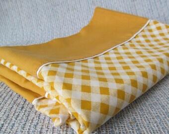 Vintage Butterscotch Gold Pillowcses Pillow Cases Maze Checked Linen Cotton