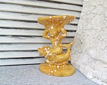 Dolphin and Nymph Pedestal Soap Dish Holder Whimsical Kitsch Gold Ceramic Home Decor Bathroom