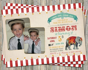 Vintage Circus Birthday Invitation with 2 photos, Circus Party, Digital Printable File