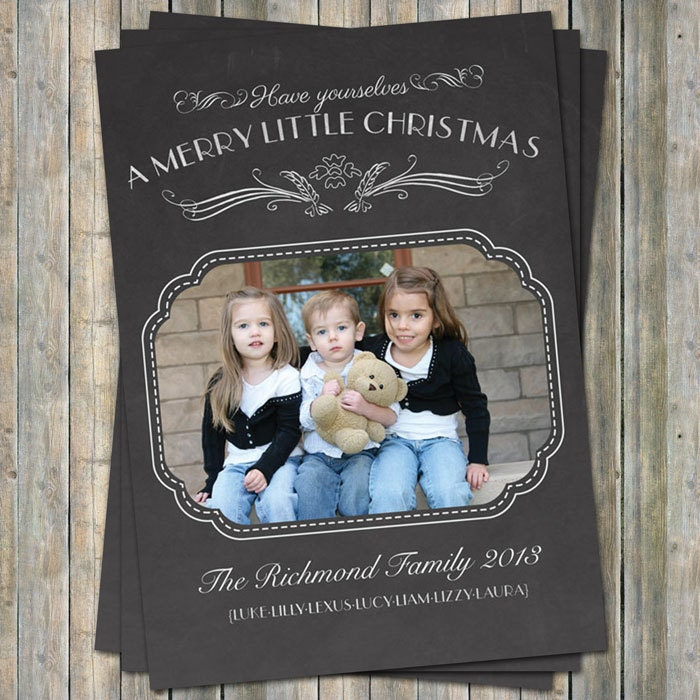 Simple Chalkboard Christmas Photo Card, multiple photos digital printable file